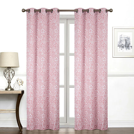 Regal Home York Paisley Light-Filtering Grommet-Top Single Curtain Panel, One Size , Pink
