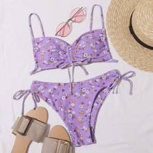Bikini Badeanzug mit Kattun Muster und Kordelzug
