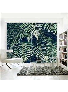 3D Mildew Resistant Plant Pattern Digital Printing Curtains
