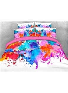 Rich Color of The Splash-ink Painting 3D Printed 4-Piece Polyester Bedding Sets/Duvet Covers