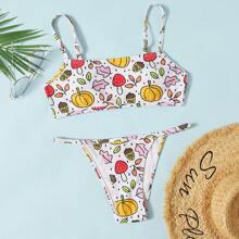 Bañador bikini tanga con estampado de verdura