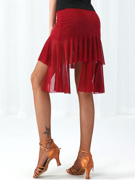 Milanoo Disfraz Halloween Traje de baile latino Tul Falda con flecos irregulares Bailarina latina Ropa de baile Carnaval Halloween