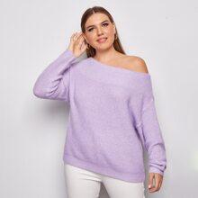 Plus Asymmetrical Neck Rib-knit Sweater