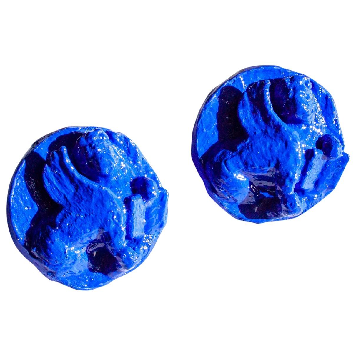 - Boucles doreilles   pour femme en acier - bleu