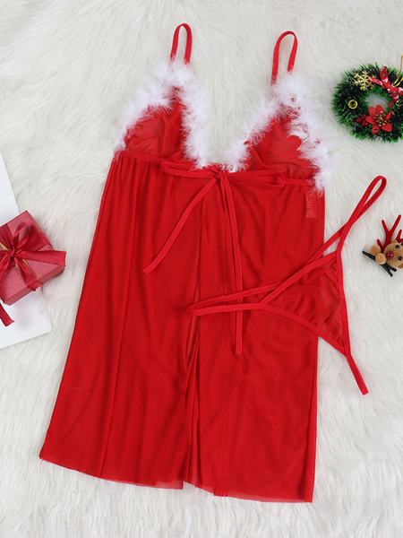 Yoins Red Bowknot Mesh Christmas Lingerie set