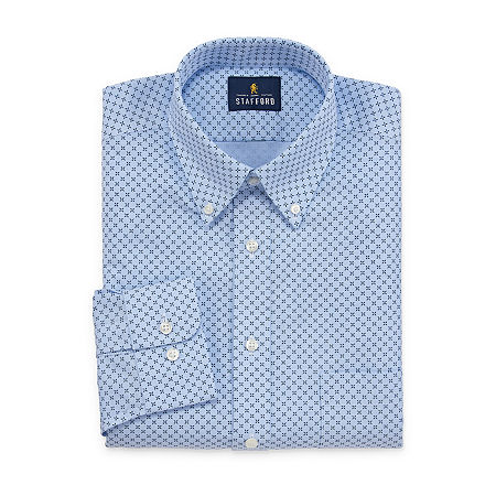 Stafford Mens Wrinkle Free Oxford Button Down Collar Regular Fit Dress Shirt, 17 32-33, Blue