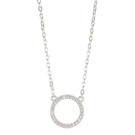 Silver Treasures Cubic Zirconia Sterling Silver 16 Inch Pendant Necklace, One Size , No Color Family