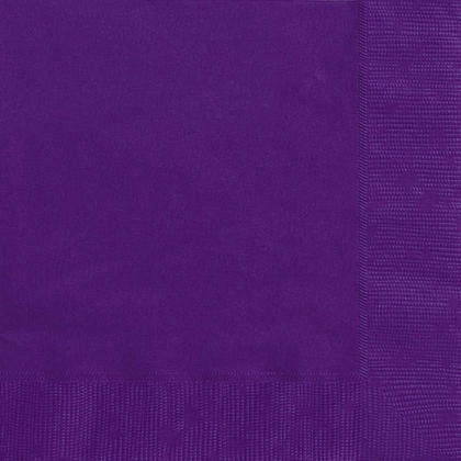 Party Beverage Napkins Solid Color 25*25cm 10*10In 2-Ply Deep Purple 20Pcs