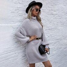 Rippenstrick Pullover Kleid mit Rollkragen ohne Guertel