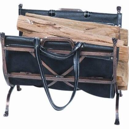 W-1315 Antique Copper Wrought Iron Log Holder with Blk Leather