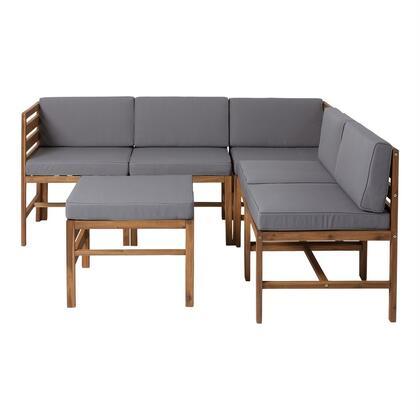 GOWSAN6PBR 6-Piece Modular Acacia in 5 seat + Ottoman in