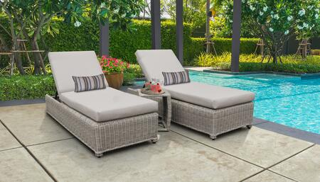 Coast Collection COAST-W-2x-ST-BEIGE Patio Set with 2 Chaise with Wheels  1 Side Table - 2 Sets of Beige