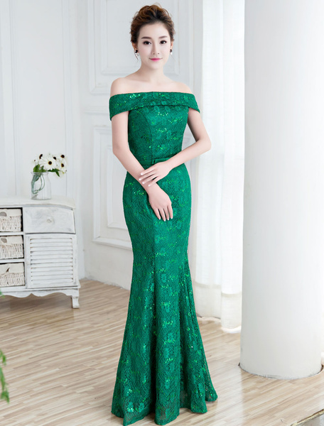 Milanoo Lace Evening Dresses Lace Off The Shoulder Formal Dress Mermaid Bow Sash Sequin Dark Navy Evening Gowns