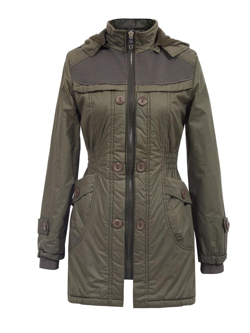 Ericdress Plain Slim Hooded Cotton Coat