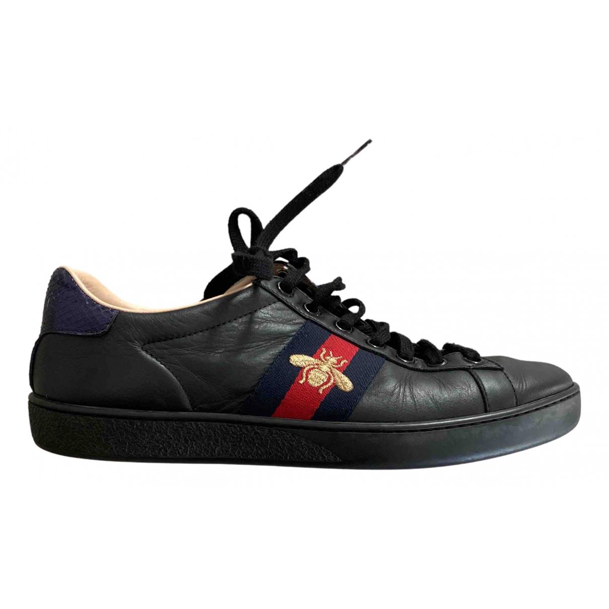 Gucci Ace Sneakers in  Schwarz Leder
