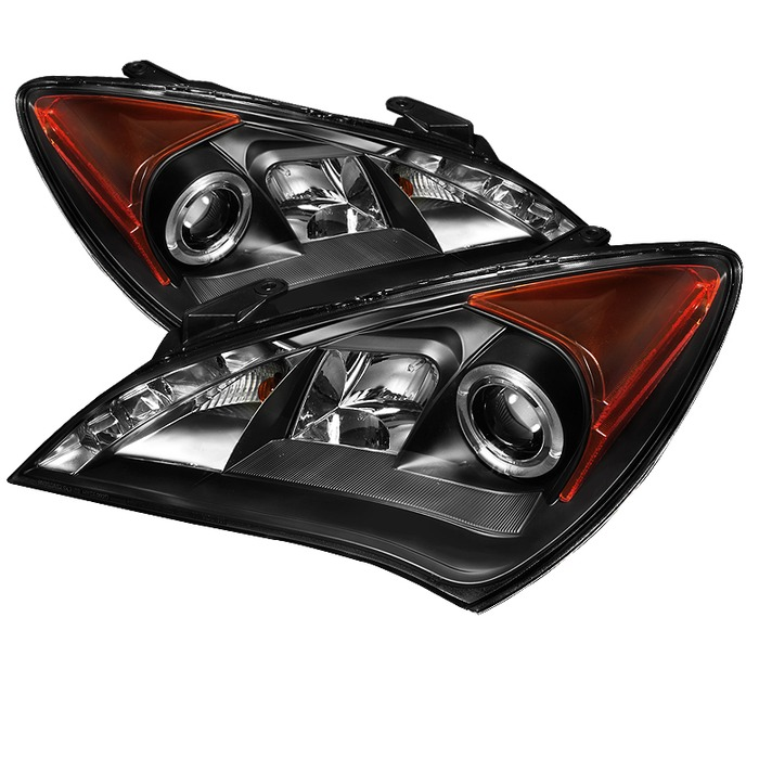 Spyder Auto PRO-YD-HYGEN09-DRL-BK Black DRL LED Halo Projector Headlights with High H1 and Low H7 Lights Included Hyundai Genesis with Halogen Lights