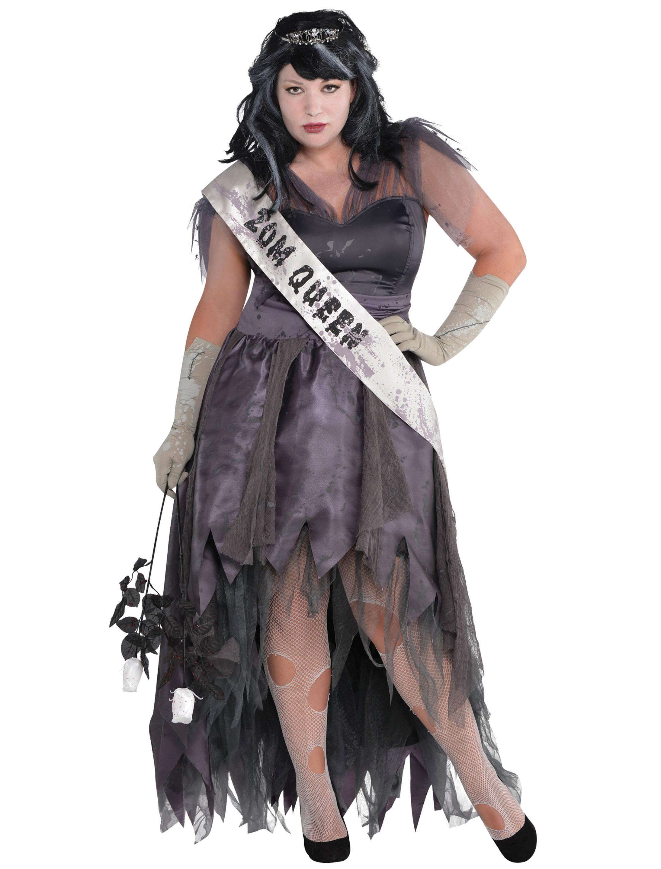 Damen-Kostuem Kleid Zombie Queen grau 4-tlg. XL Grosse: XL