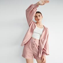 Zipper Front Drawstring Detail Pocket Front Sweatshirt