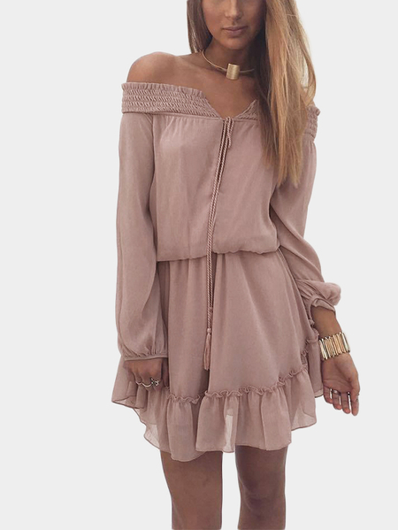 Yoins Pink Lace-up Details Off Shoulder Lantern Sleeves Mini Dress