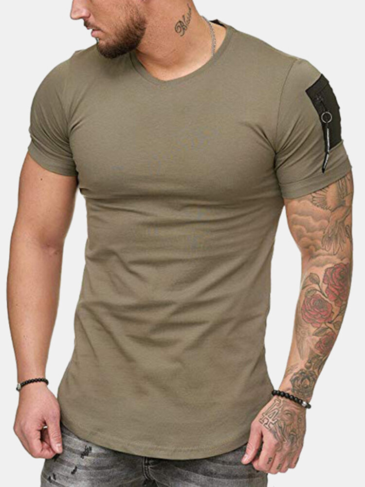 Men Solid Color Sleeve Side Zipper Design Casual Home T-shirt
