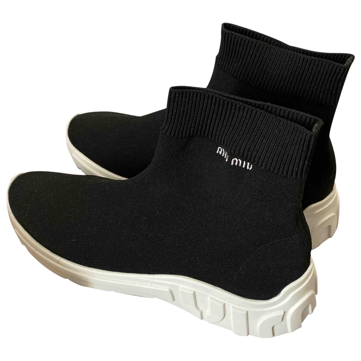 Miu Miu - Baskets   pour femme en toile - noir