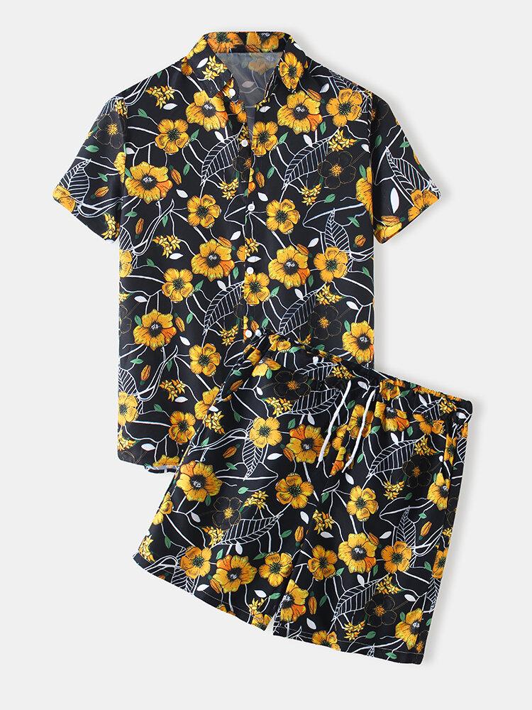 Mens Floral Print Casual Light Lapel Collar Drawstring Waist Suits