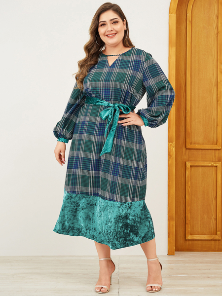Yoins Plus Size Green Belt Design Plaid V-neck Long Sleeves Dress