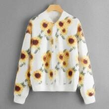 Sunflower Print Zip-Up Bomber Jacket