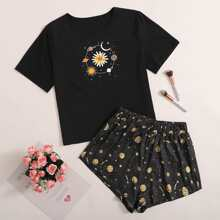 Schlafanzug Set mit Blumen & Galaxis Muster