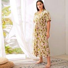 Grosse Grossen - Robe mit uebreallem Blumen Muster und Guertel