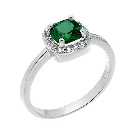 Cushion-Cut Lab-Created Emerald and Genuine White Topaz Sterling Silver Ring, 9 , No Color Family