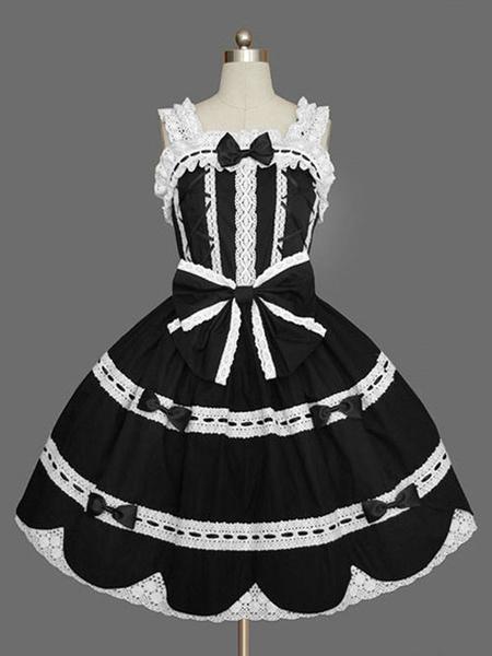 Milanoo Lolita dulce JSK vestido de volantes Negro Lolita Falda