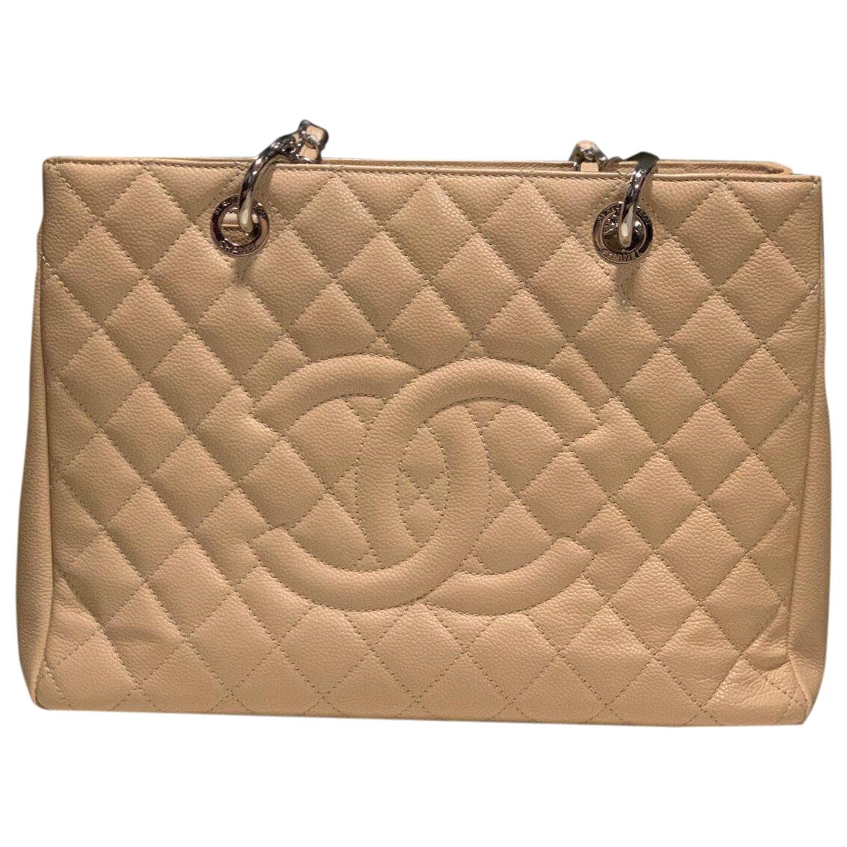 Chanel Grand shopping Beige Leather handbag for Women \N