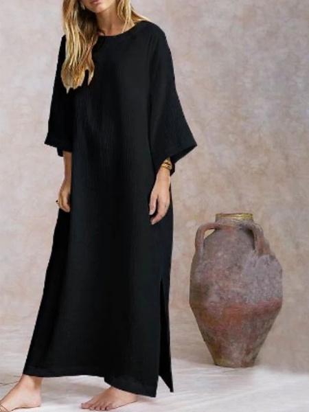 Milanoo Maxi Dresses Long Sleeves Slit Jewel Neck Shift Dress