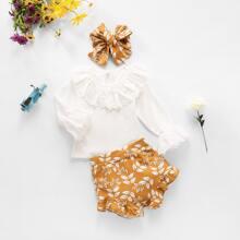Baby Girl Schiffy Panel Tee & Plants Shorts & Headband