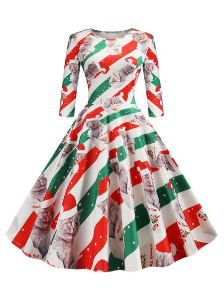 Milanoo Christmas Retro Dress 1950s Grass Green Pattern Layered Woman\\'s Pleated Half Sleeves Jewel Neck Rockabilly Dress