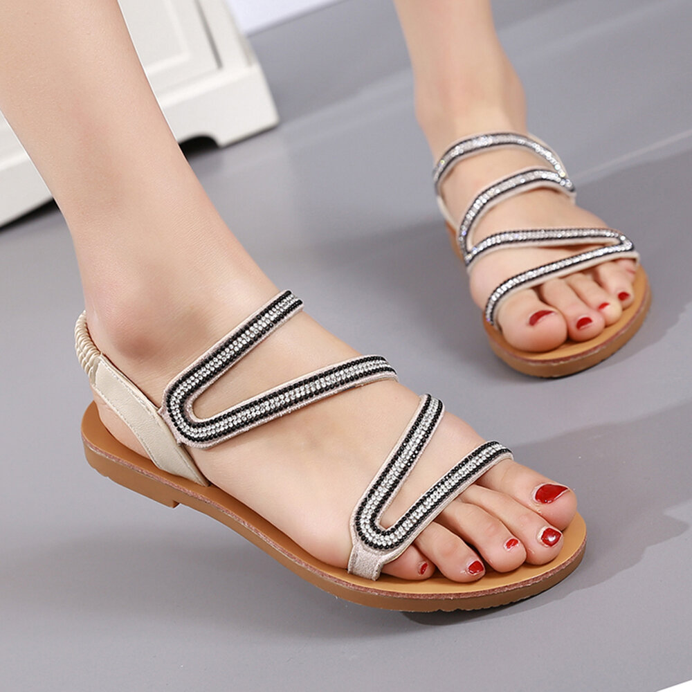 Large Size Women Casual Beach Sequined Clip Toe Flat Sandals