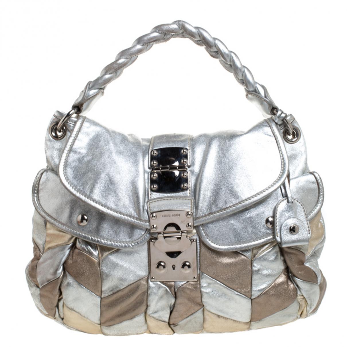 Miu Miu Coffer Handtasche in  Metallic Leder