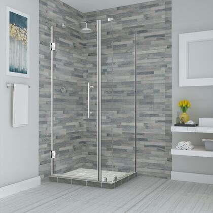 SEN967EZ-SS-393336-10 Bromley 38.25 To 39.25 X 36.375 X 72 Frameless Corner Hinged Shower Enclosure In Stainless