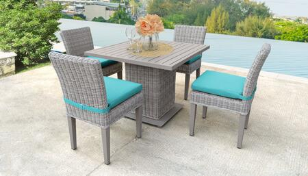Coast Collection COAST-SQUARE-KIT-4ADCC-ARUBA Patio Dining Set with 1 Table   4 Side Chairs - Beige and Aruba