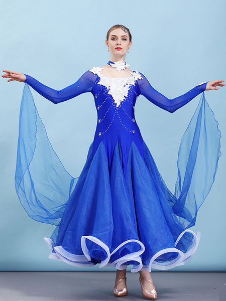 Milanoo Ballroom Dance Costume Dresses Choker Long Sleeve Beaded Applique Training Performance Dancing Wear Halloween