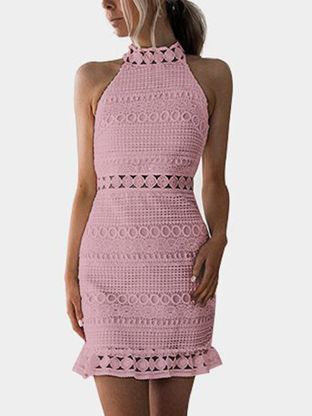 Yoins Pnik Lace Cut Out Design High Neck Sleeveless Dress