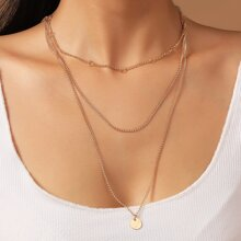 Disc Pendant Layered Necklace