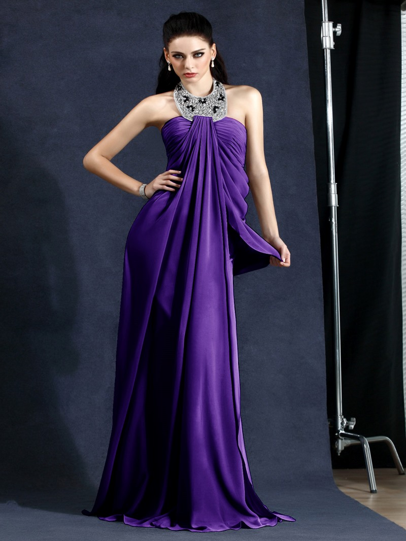 Elegant A-Line Halter Draped Floor-Length Polina's Evening Dress