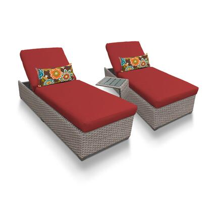 OASIS-2x-ST-TERRACOTTA Oasis Chaise Set of 2 Outdoor Wicker Patio Furniture With Side Table with 2 Covers: Grey and