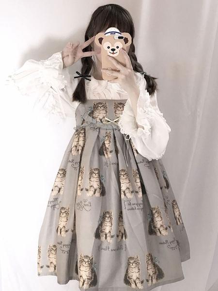 Milanoo Sweet Lolita JSK Dress Twin Cat Bowknot Frill Cotton Slub Lolita Jumper Skirt
