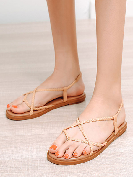 Milanoo Flat Sandals For Woman Flat PU Leather Chic Women\'s Flats