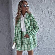 Tweed Plaid Dual Pockets Oversized Coat