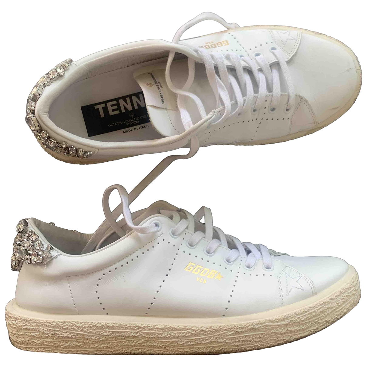 Golden Goose Tennis Sneakers in  Weiss Leder