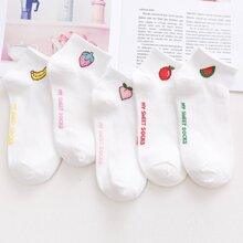 5pairs Fruit & Letter Graphic Ankle Socks